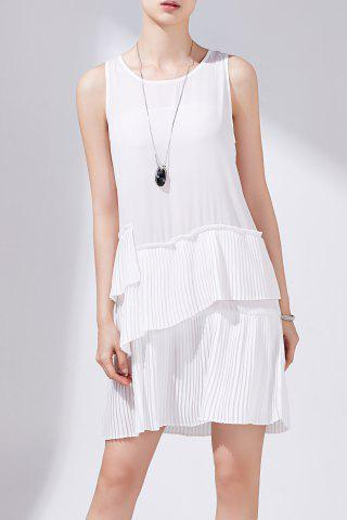Store Solid Color Pleated Layered Sleeveless Dress