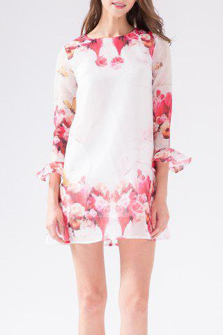 New Rose Print Organza Long Sleeve Dress