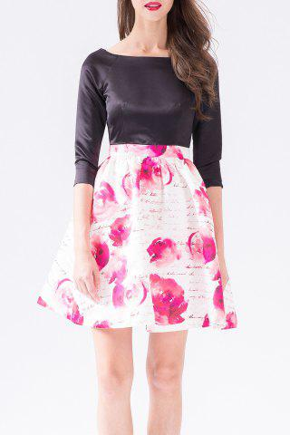 Discount Boat Neck Rose Print Mini Dress