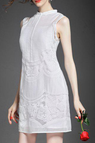 Chic Stand Collar Embroidered See Through Sleeveless Dress