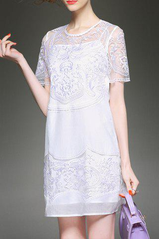 Trendy Solid Color Embroidered See Through Dress