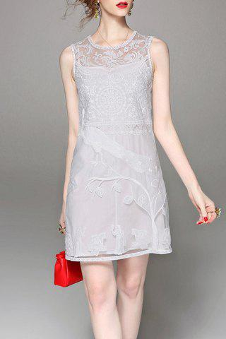 Buy Embroidered Solid Color See Through Sleeveless Dress