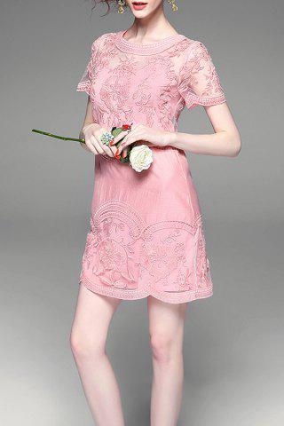 Chic Flower Embroidered Button Design See Through Dress