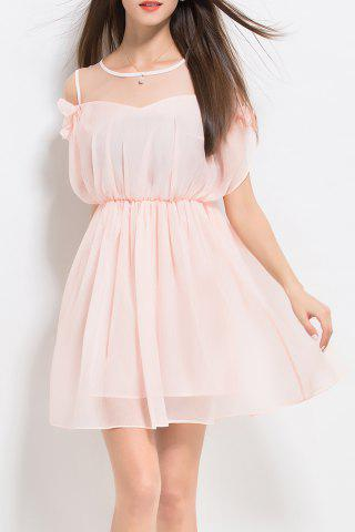 Affordable Ruffles Solid Color Pleated Dress