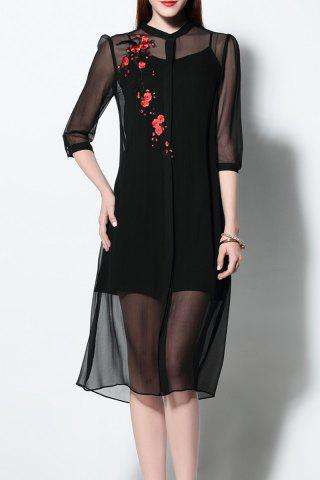 Sale See-Through Shirt Dress and Cami Dress Twinset