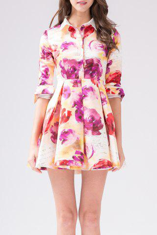 Outfits Rose Print Pleated Shirt Dress