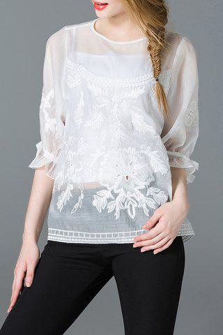 Discount Embroidered White Sheer Organza Top