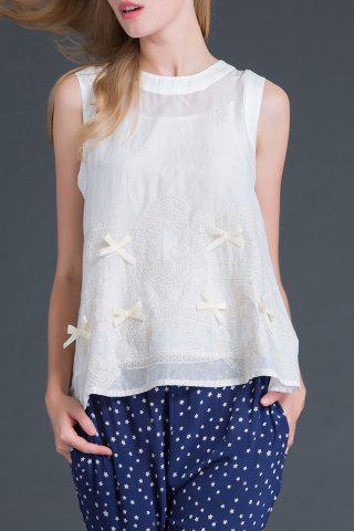 Affordable Round Collar Sleeveless Bowknot Embroidery T-Shirt
