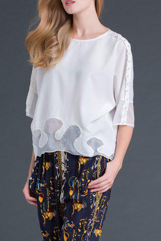 Discount Round Collar Solid Color Beaded Chiffon T-Shirt