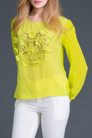 Outfit Round Collar Long Sleeve Embroidery T-Shirt