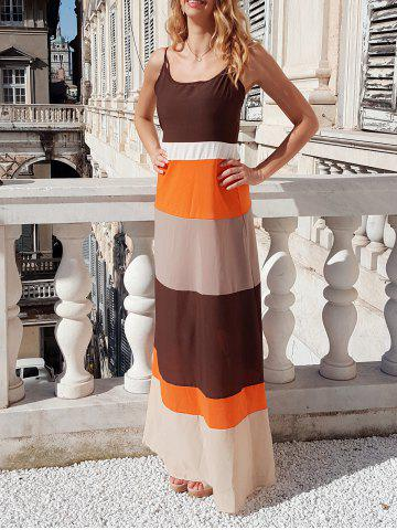 Buy Bohemian Style Spaghetti Strap Color Block Dress For Women