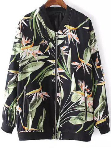 Sale Stylish Stand Neck Long Sleeve Tropical Print Women's Jacket