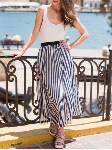 Discount Chic High Waist Vertical Striped Maxi Skirt