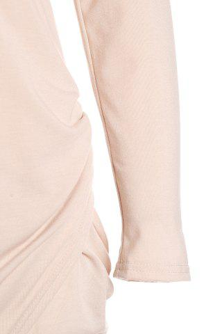 Sale Long Sleeve Crossover Hem Bodycon Bandage Dress - L PINK Mobile