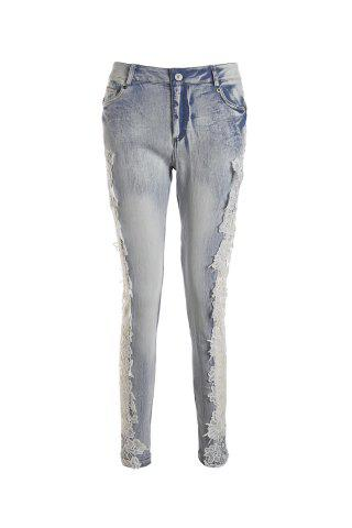 Online Lace Insert Skinny Cigarette Jeans LIGHT BLUE L