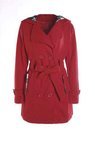 Stylish Hooded Double-Breasted Long Sleeve Worsted Coat For Women - Red - 2xl