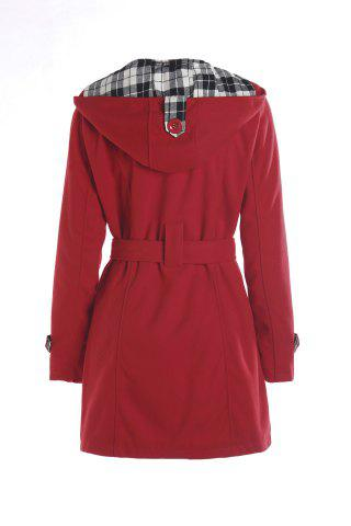 Latest Stylish Hooded Double-Breasted Long Sleeve Worsted Coat For Women - S RED Mobile