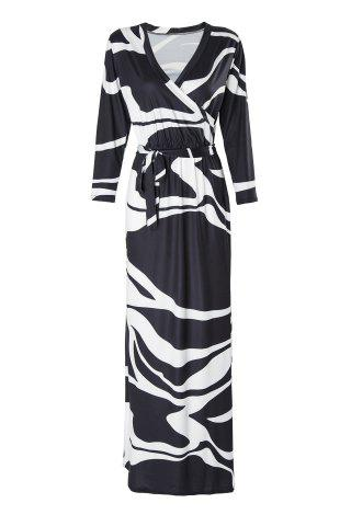 Stylish Plunging Neck 3/4 Sleeve Black and White Women's Maxi Dress