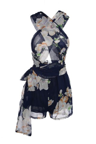 Latest Plunging Neck Sleeveless Floral Print Self-Tie Women's Romper