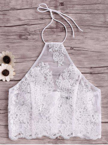 Outfit Halter Embroidery Lace Crop Tank Top WHITE L