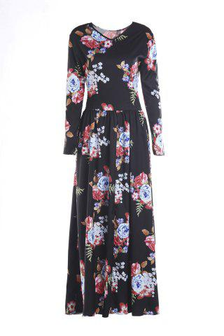 Womens Long Sleeve Maxi Floral Print Dress - L BLACK Mobile
