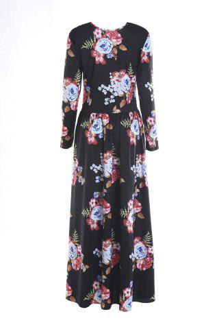 Unique Long Sleeve Maxi Floral Print Dress - L BLACK Mobile