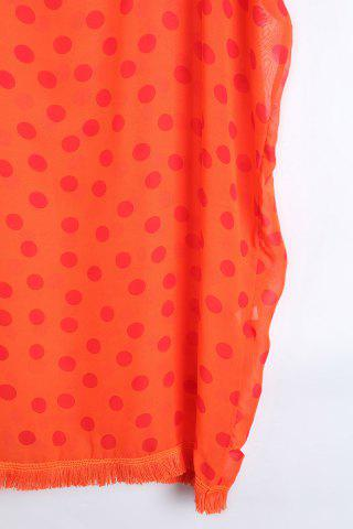 Store Stylish V Neck Half Sleeve Polka Dot Print Women's Cover Up - ONE SIZE(FIT SIZE XS TO M) ORANGE Mobile