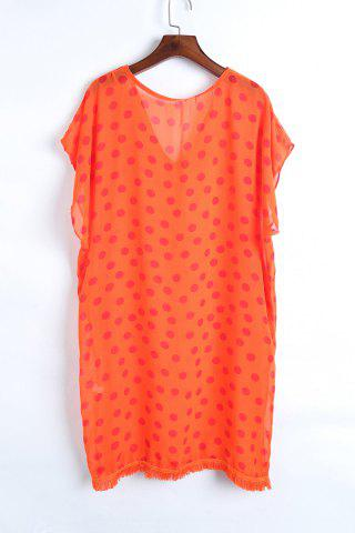 Women's Stylish V Neck Half Sleeve Polka Dot Print Women's Cover Up - ONE SIZE(FIT SIZE XS TO M) ORANGE Mobile