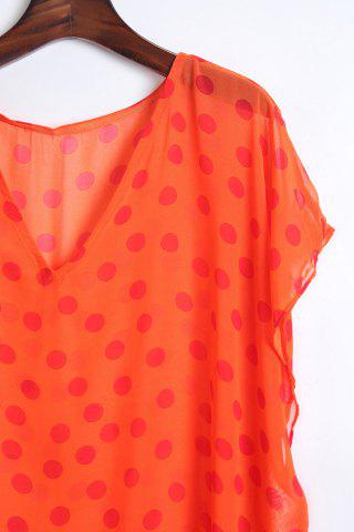 Hot Stylish V Neck Half Sleeve Polka Dot Print Women's Cover Up - ONE SIZE(FIT SIZE XS TO M) ORANGE Mobile