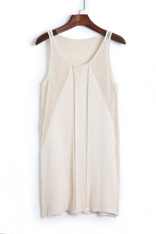 Women's Stylish Scoop Neck Sleeveless Solid Color Knit Women's Cover Up