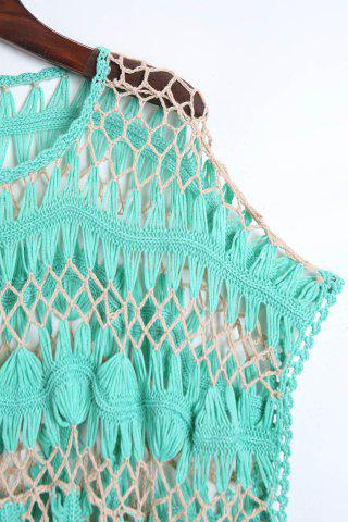 Latest Short Sleeve Crochet Cover Up - ONE SIZE(FIT SIZE XS TO M) GREEN Mobile