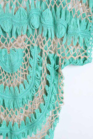 Womens Short Sleeve Crochet Cover Up - ONE SIZE(FIT SIZE XS TO M) GREEN Mobile