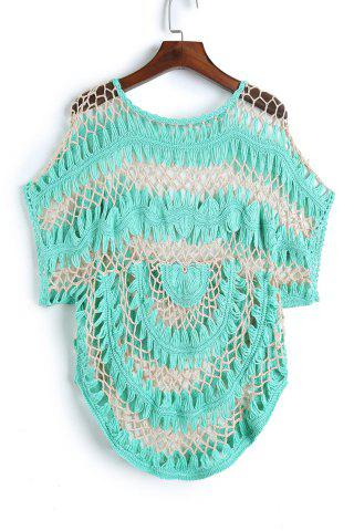 Store Short Sleeve Crochet Cover Up - ONE SIZE(FIT SIZE XS TO M) GREEN Mobile