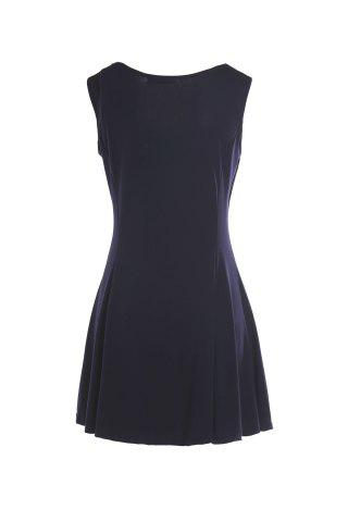 Chic Skater Dress with Sweetheart Neck - M PURPLISH BLUE Mobile