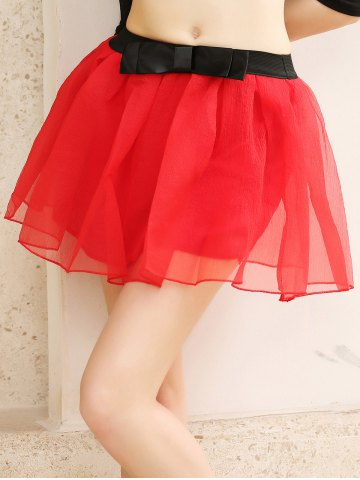 Outfits Layered Bowknot Mini Skirt RED ONE SIZE