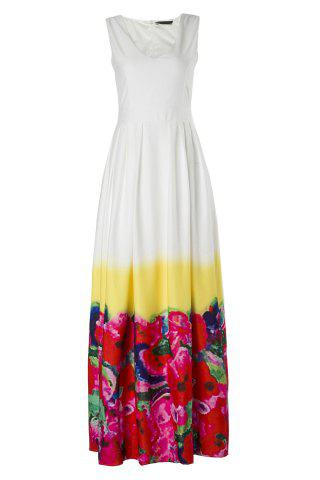 Slimming V-Neck Sleeveless High-Waisted Floral Print Women's Maxi Dress - Red - Xl