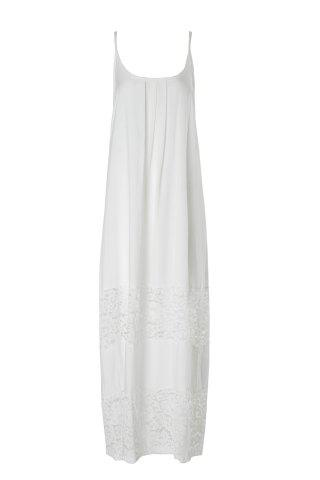Stylish Cami Lace Spliced White Women's Maxi Dress - White - M