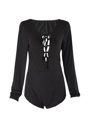 Alluring Style Plunging Neck Tie-Up Black Long Sleeve T-Shirt For Women - Black - S