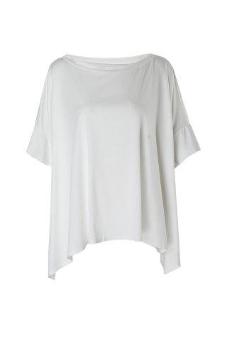 Fashionable One Shoulder Solid Color 3/4 Sleeve T-Shirt For Women - White - One Size(fit Size Xs To M)