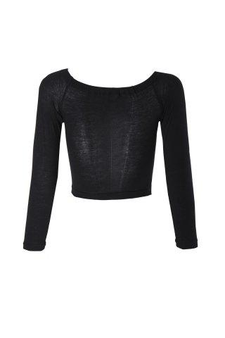 Sexy Style Slash Neck Solid Color Long Sleeve Crop Top For Women - Black - S