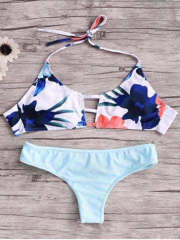 Cheap Cut Out Halter Top Bikini Set BLUE XL