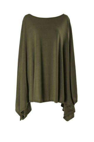 Fancy Stylish Scoop Neck Solid Color Asymmetrical Women's Dress - 2XL ARMY GREEN Mobile