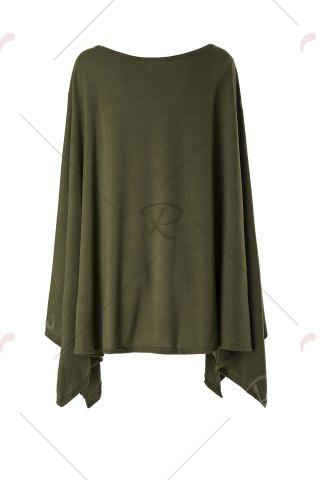 Trendy Stylish Scoop Neck Solid Color Asymmetrical Women's Dress - 2XL ARMY GREEN Mobile