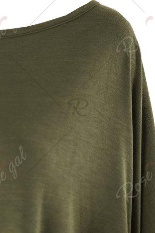 Shop Stylish Scoop Neck Solid Color Asymmetrical Women's Dress - 2XL ARMY GREEN Mobile