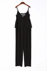 Chic Spaghetti Strap Sleeveless Cut Out Women's Jumpsuit - BLACK