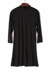 Women's Stylish 3/4 Sleeve Round Neck Black A-Line Dress