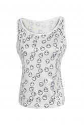 Alien Print Crop Tank Top - WHITE