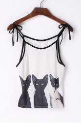 Cute Spaghetti Strap Cats Print Lace-Up Tank Top For Women -