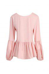 Stylish Round Neck Long Sleeve Bowknot Design Flounced Blouse For Women