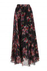 Flower Pattern Chiffon Maxi Skirt - BLACK